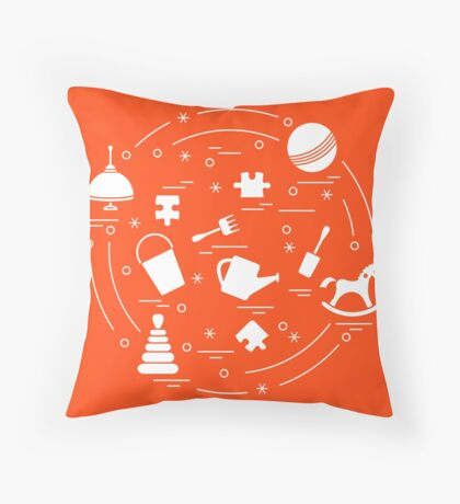 Vector illustration kids elements arranged in a circle: whirligig, ball, puzzle, rocking horse,  bucket, pyramid and other. Throw Pillow