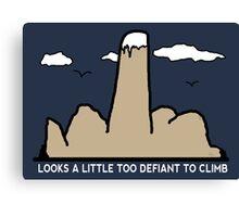 Funny Rock Climbing Cartoon Canvas Print