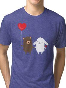 Cute cartoon bear and bunny rabbit holding hands Tri-blend T-Shirt