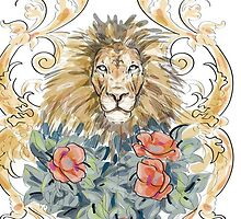 Lion and Roses by Somniare
