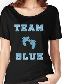 Team Blue Boy Mom Baby Shower Gender Reveal Party Cute Funny Gift Women's Relaxed Fit T-Shirt