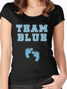 Team Blue Boy Mom Baby Shower Gender Reveal Party Cute Funny Gift Women's Fitted Scoop T-Shirt