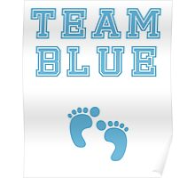 Team Blue Boy Mom Baby Shower Gender Reveal Party Cute Funny Gift Poster
