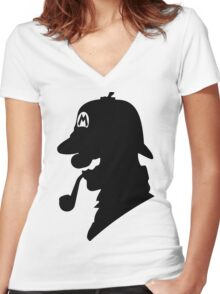 Super Mario Holmes Women's Fitted V-Neck T-Shirt