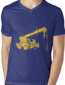 Construction Crane Truck Work Hard Hat Mens V-Neck T-Shirt