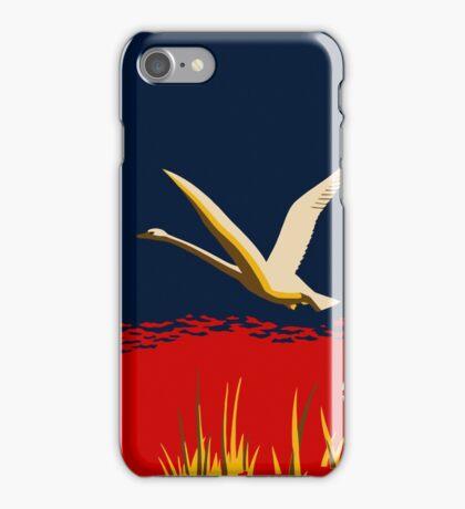 Retro art trumpeter swan, cross the sea motivational quote iPhone Case/Skin