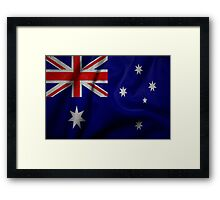 Waving Australian flag on aged canvas Framed Print