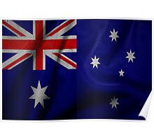 Waving Australian flag on aged canvas Poster