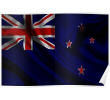 Waving Flag of New Zealand on aged canvas Poster