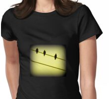 THREE BLACKBIRDS ON A WIRE Womens Fitted T-Shirt