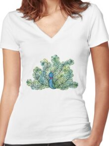 Fancy Watercolor Detailed Peacock Women's Fitted V-Neck T-Shirt