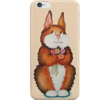 cute brown Bunny smiling and colourful flowers art  iPhone Case/Skin