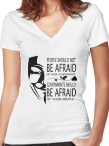 Governments Be Afraid Women's Fitted V-Neck T-Shirt