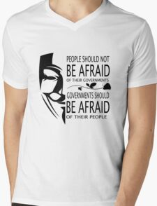 Governments Be Afraid Mens V-Neck T-Shirt