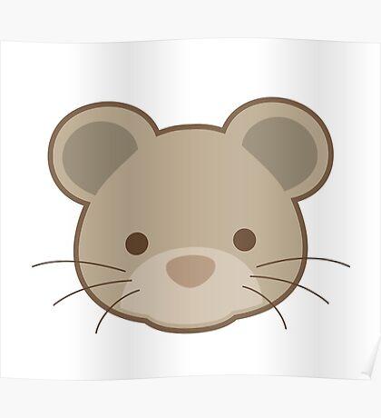 Cute mouse portrait cartoon Poster
