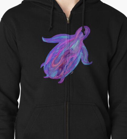 Sea Turtle in Tranquil Liquid Flowing Colors (Turquoises, Purples, Pinks, Blues) on Black Background Zipped Hoodie