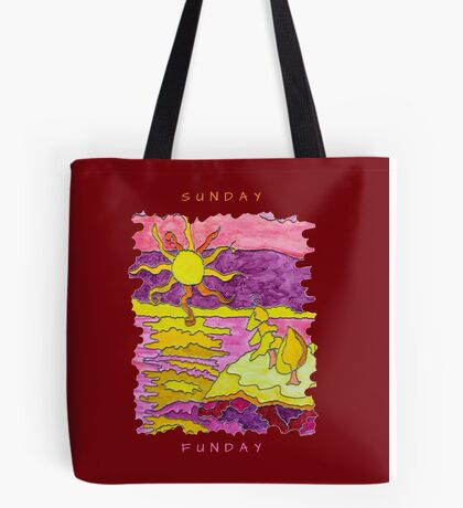 SUNSET ART OCEAN ART SEASCAPE SUNDAY FUNDAY FUNNY QUOTE Tote Bag