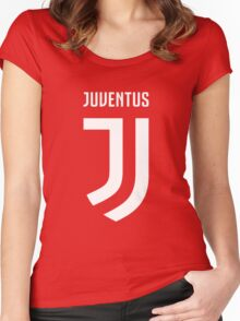 juventus new logo white Women's Fitted Scoop T-Shirt