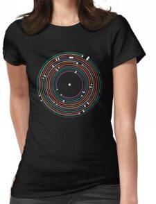 Cool colored vinyl record metro map dj music art Womens Fitted T-Shirt