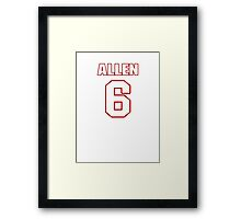 NFL Player Ryan Allen six 6 Framed Print