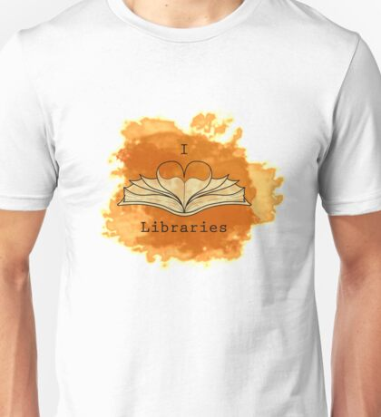 I Love Libraries (rust) Unisex T-Shirt