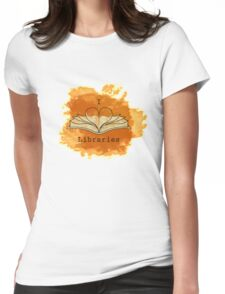 I Love Libraries (rust) Womens Fitted T-Shirt