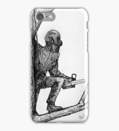 Arborist tree surgeon using chainsaw iPhone Case/Skin