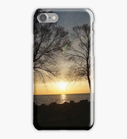 Tree on a lake in a sunset iPhone Case/Skin