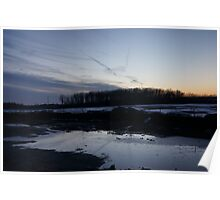 Puddle sunset Poster