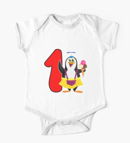 1st Birthday Penguin One Piece - Short Sleeve