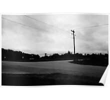 Black and white empty road Poster