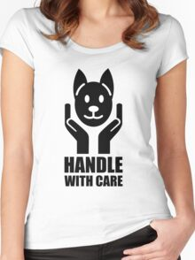 Handle with Care – Black on White Women's Fitted Scoop T-Shirt