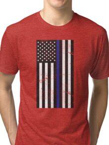 Distressed Blue Line Flag: Stars on left Tri-blend T-Shirt