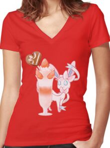 Cafe Sylveon Women's Fitted V-Neck T-Shirt