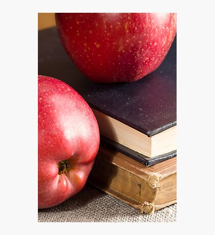 Red apples and old vintage book Photographic Print
