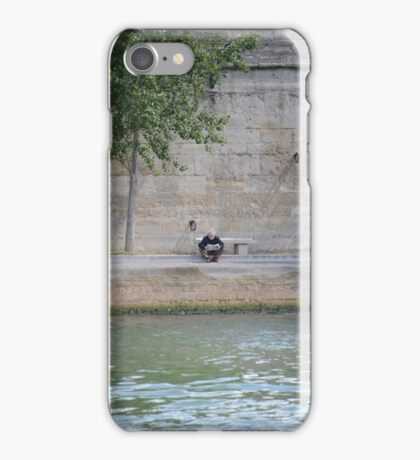 Reading the Paper on the Edge of the Seine iPhone Case/Skin