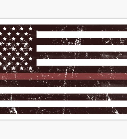 Red Line Flag Distressed Sticker