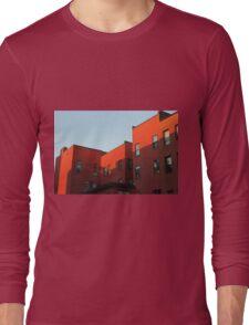 Blue Sky and Orange Building Long Sleeve T-Shirt