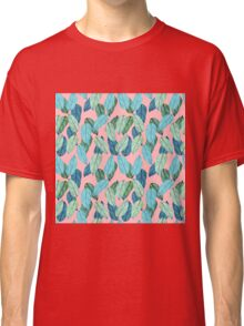 Tropical Leaves in Aqua and blue on coral Classic T-Shirt