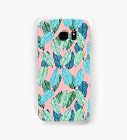 Tropical Leaves in Aqua and blue on coral Samsung Galaxy Case/Skin