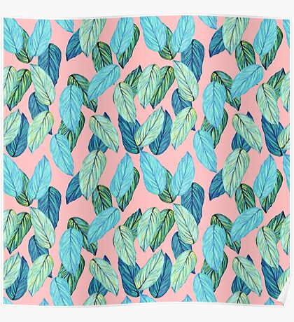 Tropical Leaves in Aqua and blue on coral Poster