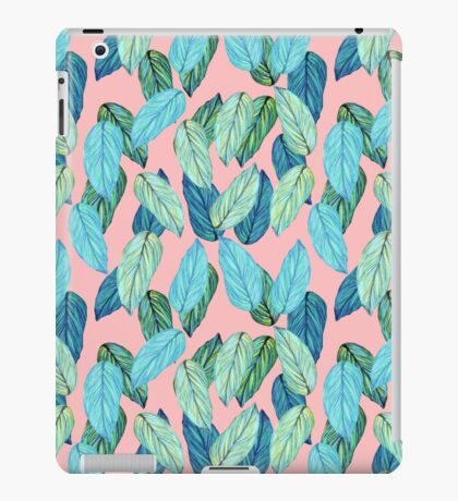 Tropical Leaves in Aqua and blue on coral iPad Case/Skin