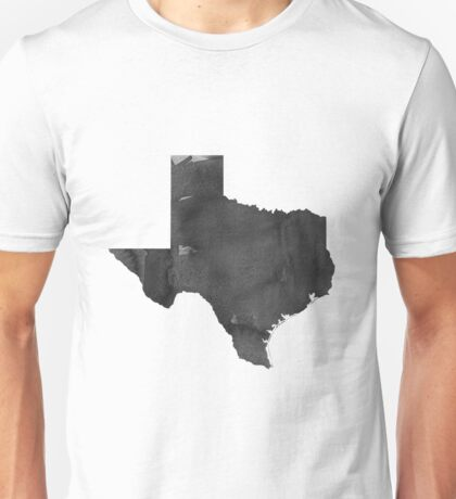 Modern Wall Art Home Office Decor Texas Map Watercolor Printable File, USA State Texas Silhouette Watercolor Grey Black White Unisex T-Shirt
