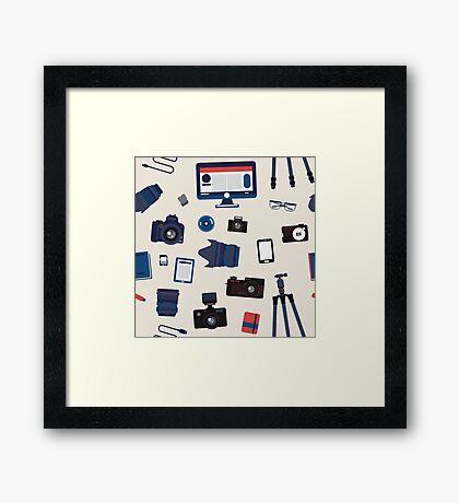 Photographer Set Seamless Pattern - Cameras, Lenses and Photo Equipment Framed Print