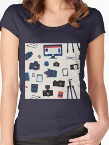 Photographer Set Seamless Pattern - Cameras, Lenses and Photo Equipment Women's Fitted Scoop T-Shirt