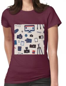 Photographer Set Seamless Pattern - Cameras, Lenses and Photo Equipment Womens Fitted T-Shirt