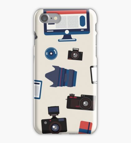 Photographer Set Seamless Pattern - Cameras, Lenses and Photo Equipment iPhone Case/Skin