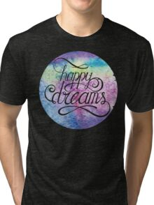 Letering Happy dreams. Watercolor abstract background Tri-blend T-Shirt
