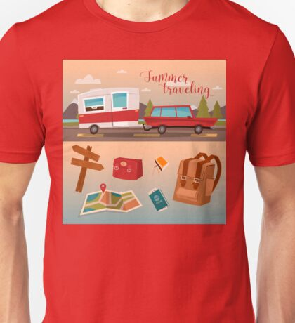 Family Vacation Time. Active Summer Holidays by Camper Unisex T-Shirt