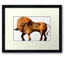 bull  in low poly triangular style Framed Print